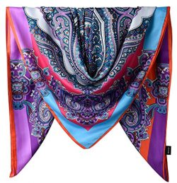 100% Silk Female Twill Square Scarf 40 Inches / Purple Heart Colorful Totem Pattern
