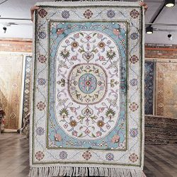 Yilong Carpet 2'x3′ Hand Knotted Nain Persian Silk Rug Oriental Classic Medallion Bl ...