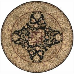 Nourison Nourison 2000 (2028) Black Round Area Rug, 6-Feet by 6-Feet  (6′ x 6′)