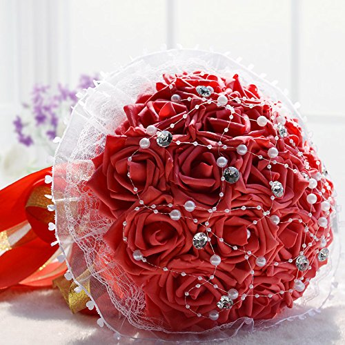 Hestian 18pcs Rose with Rhinestone,pearls Chains Stain Ribbon Handle Bridal Wedding Bouquet Silk ...