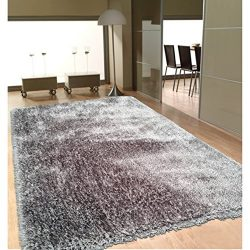 Rug Addiction Soft as Silk Shaggy Rug Brimming with a Neutral Shade of Gray (8′ x 10′)
