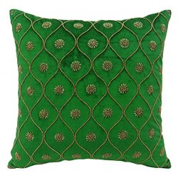 S4Sassy Decor Hand Beaded Green Cushion Cover Velvet Silk Pillow Case Gift Throw 18 x 18