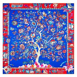 JIUMAN Womens Extra Large Silk Square Scarf Luxury Designer Scarf 51×51 Inches (NavyBlue)
