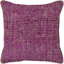 Chandra Rugs CUS28011-18 Decorative Silk Textured Fabric Pillow, 18″, Magenta/Natural