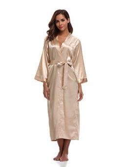 Sunnyhu Women's Pure Color Kimono Robe, Long (XL, Gold)