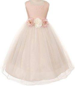 Classic Silk Bodice Elegant Waist Baby Little Girl Flower Girls Dresses (13KD5) Rose M