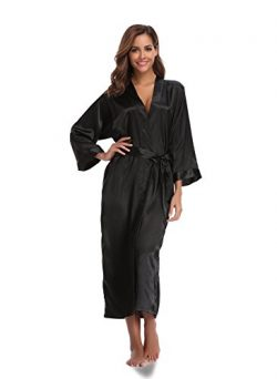 Sunnyhu Women's Pure Color Kimono Robe, Long (XL, Black)
