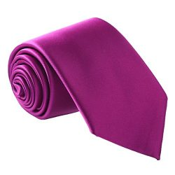 Fortunatever Men's Handmade Tie,Classical Solid Necktie With Gift Box (Purple)