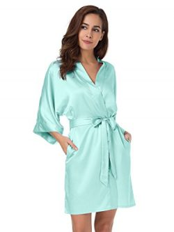 SIORO Kimono Robe Plus Size Bridesmaid Satin Robes Silk Lightweight Nightwear V-Neck Sexy Sleepw ...