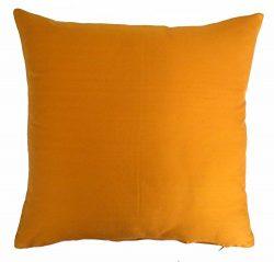 Silk Throw Pillow Cover Orange 15×15 inch 1 Piece 100% Pure Silk Dupioni Cushion Cover
