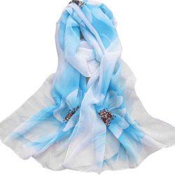 Silk Scarf,Han Shi Women Soft Chiffon Flower Printed Voile Wrap Shawl Muffler Stole (L, Light Blue)
