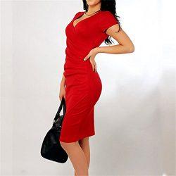 Iumer Asymmetric Candy Color Sexy V-neck Office Dress Elegant Women Summer Silk Casual Pencil Dr ...