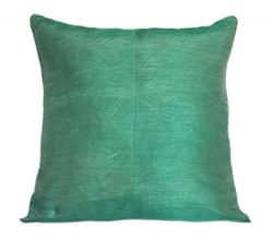 Set of 2 Mint Green Art Silk Pillow Covers, Plain Silk Cushion Cover, Solid Color Mint Green Thr ...