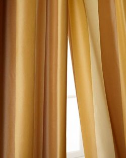 Ivory,beige & gold toned striped faux silk taffeta lined rod pocket curtain panel (52″ ...