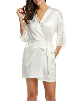 HOTOUCH Women's Bathrobes Short Kimono Robe Satin Sleepwear Silky Lace Trim Lingerie with  ...