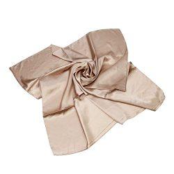 Elegant Large Silk Feel Solid Color Satin Square Scarf Wrap 36″, Beige