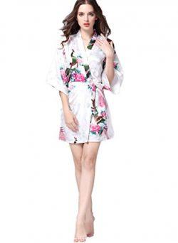 YUAKOU Women's Short Kimono Robes Peacock Blossoms Silk Nightwear Bathrobes