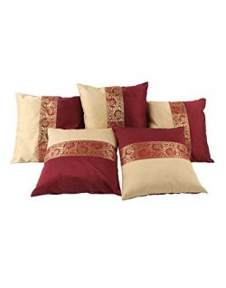 THE ART BOX Home Decorative Pillow Case 16 x 16 Set of 5 Cushion Covers Bedroom Living Room Poly ...
