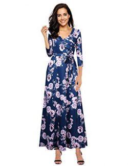 Leadingstar Women Wrap Casual Tie Floral Print Maxi Long Dress With Belt Dark Blue M