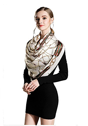 Women's Silk Scarf – Floral Print Soft Luxurious Large Shawl Neck Head Hair Wrap Nec ...