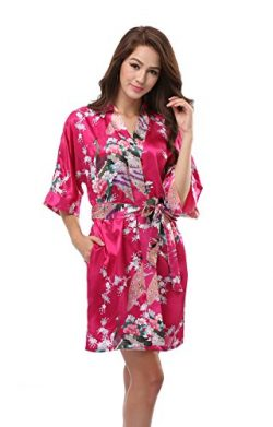 Luvrobes Women's Satin Kimono Robe, Peacock Design, Short (L, Fuchsia)