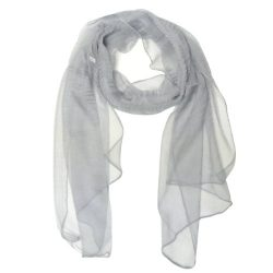 Wrapables Solid Color 100% Silk Long Scarf, Gray
