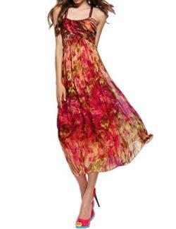 CDCLOTH Women's Summer Silk Dress Slip Dress Halterneck Silk Beach Maxi Dress Rose
