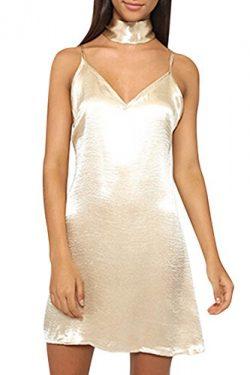 PinkWind Women's Fall Sexy Sliky Cotton Pullover Sleeveless Zipper Nightout Slip Dress S Beige