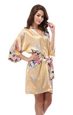 Luvrobes Women's Satin Kimono Robe, Peacock Design, Short (M, Gold)