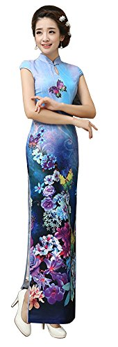 AvaCostume Women's Chinese Silk High Side Slit Long Chinese Dress Cheongsam Navy L