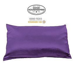 Fishers Finery 19mm 100% Pure Mulberry Silk Pillowcase Good Housekeeping Quality Tested(Purple, Q)