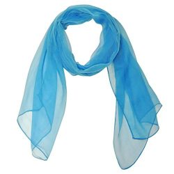 Wrapables Solid Color 100% Silk Long Scarf, Peacock Blue