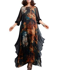 YESNO JK7 Women Long Maxi Floral Swing Dress Colorful Bohemia 'A' Skirt Ink Painting ...