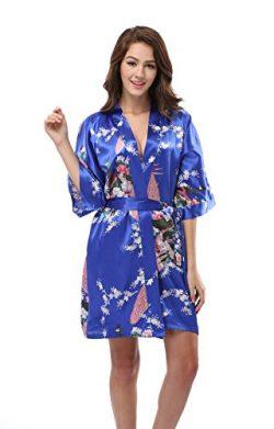 Luvrobes Women's Satin Kimono Robe, Peacock Design, Short (S, Sapphire)