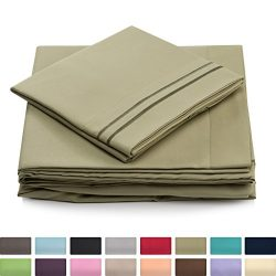 Twin Size Bed Sheets – Sage Green Luxury Sheet Set – Deep Pocket – Super Soft  ...