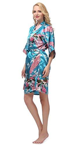 gusuqing Women's Printing Peacock Kimono Robe Short Sleeve Silk Bridal Robe Peacock Blue XL