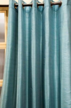 Solid tone faux raw silk grommet/eyelet curtain/panel/drape (Blue, 52″W X 108″L)