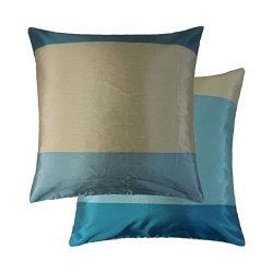 BRAZIL TEAL BLUE CREAM BEIGE STRIPE STRIPED FAUX SILK THROW PILLOW SCATTER CUSHION COVER TO MATC ...