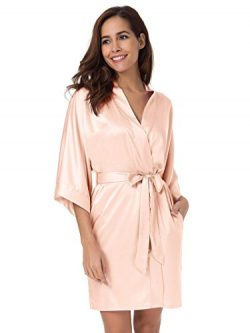 SIORO Kimono Robe Plus Size Bridesmaid Satin Robes Silk Lightweight Nightwear V-Neck Sexy Sleepw ...