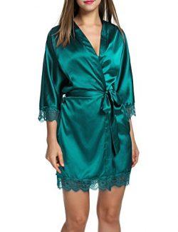 Hotouch Womens Bathrobe Three Quarter Sleeve Robe Cotton Comfort Sleepwear Sea Green M