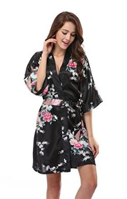Luvrobes Women's Satin Kimono Robe, Peacock Design, Short (L, Black)