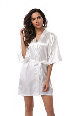 Vogue Bridal VogueBridal Women's Solid Color Short Kimono Robe, White S