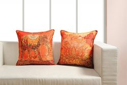 Digitally Printed Vibrant Color, Ethnic Theme Cushion Cover 18 x18 Inch Set of 2 Reversible,Faux ...