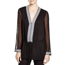 Tory Burch Womens Silk Woven Trim Tunic Top