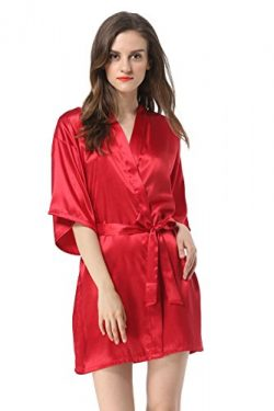 Vogue Forefront Women's Satin Plain Short Kimono Robe Bathrobe, Medium, Wine Red