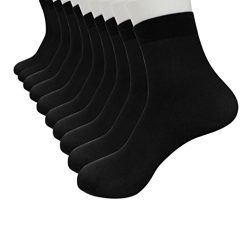Leyorie 10 Pairs Solid Bamboo Fiber Ultra-thin Elastic Silky Short Silk Stockings Men Socks Hot  ...