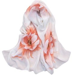 Silk Scarf,Han Shi Women Soft Chiffon Flower Printed Voile Wrap Shawl Muffler Stole (L, Yellow)