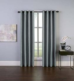 Curtainworks Malta Faux Silk Grommet Curtain Panel, 50 by 120″, Teal