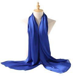 Bellonesc Silk Scarf 100% silk Long Lightweight Sunscreen Shawls for Women (blue)