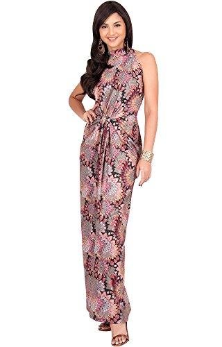 0f2fc931ea KOH KOH Plus Size Womens Long Sleeveless Sexy Summer Boho Bohemian Sundress  Sun Sundresses Print .